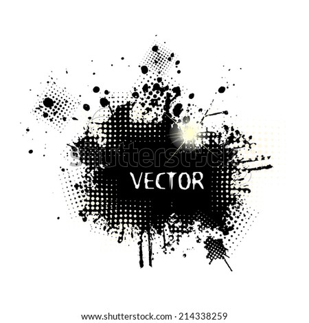 Ink splat overlayed by halftone dots in black and white. Vector  - stock vector