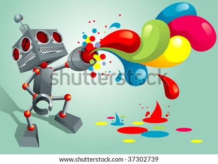 Ink Spray Robot - stock vector