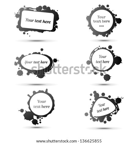 Ink stains  as labels, vector illustration - stock vector