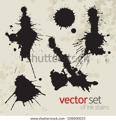 Ink stains, set 1 - stock vector