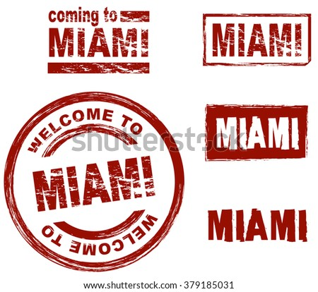 Ink stamp set city Miami - stock vector