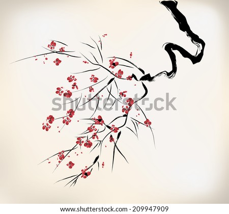ink style blossom - stock vector