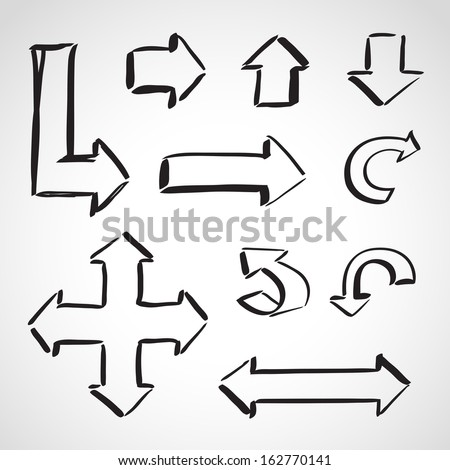 Ink style hand drawn sketch set  - different direction arrows - stock vector