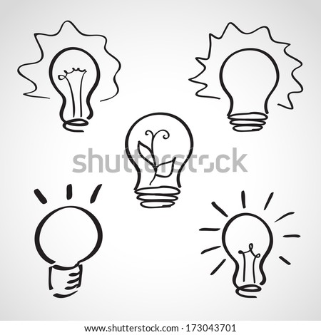 Ink style hand drawn sketch set - lightbulb icons - stock vector