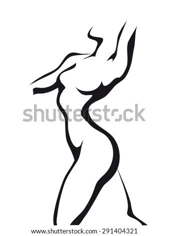 Ink style sketch Dancing woman