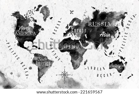 Ink world map black white graphics vector de stock221659567 ink world map in black and white graphics in vintage style gumiabroncs Choice Image
