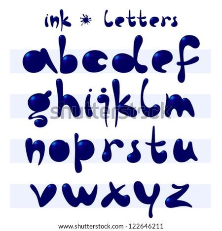 ink written letters, vector illustration - stock vector