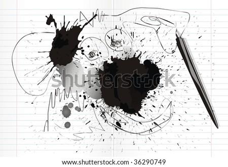 inkblots and scrawl in notebook - stock vector