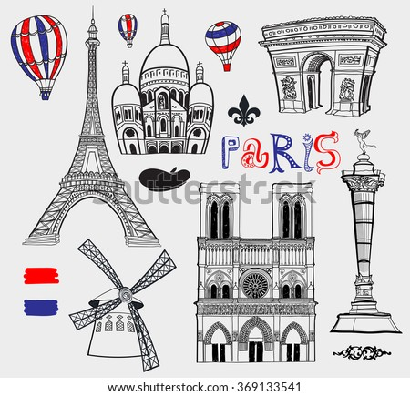 Inked Set of Famous Paris Landmarks, including Eiffel Tower, Church of Sacred Heart, Notre Dame, Bastille and Triumphal Arch. Black and white, hand drawn illustration - stock vector