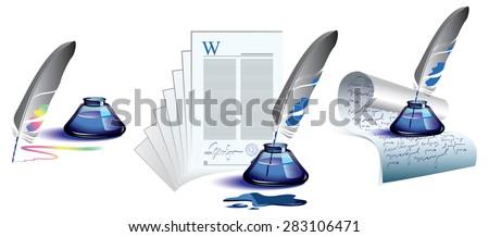 Inkwell - stock vector
