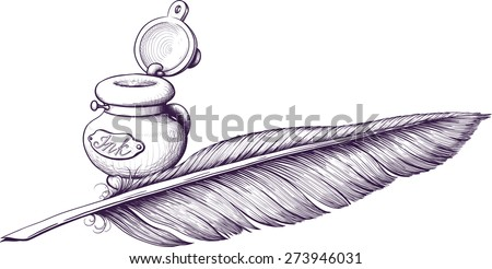Inkwell and quill pen lying next - stock vector