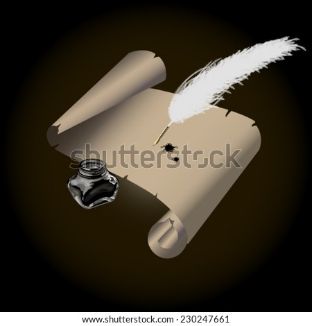 inkwell white feather roll old paper and blots - stock vector