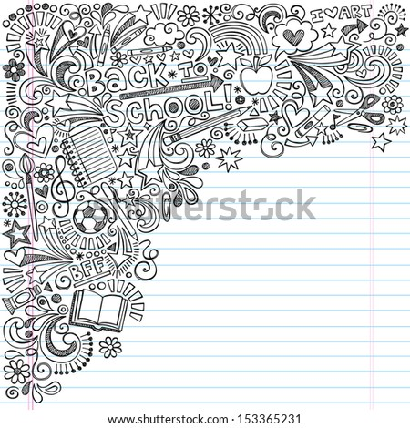 Inky Back to School Notebook Doodles with Apple, Soccer Ball, Art Supplies and Book- Hand-Drawn Vector Illustration Design Elements on Lined Sketchbook Paper Background - stock vector