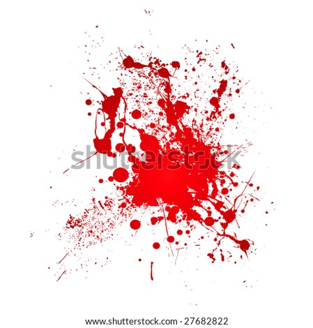 Inky blood splat with a red abstract shape - stock vector