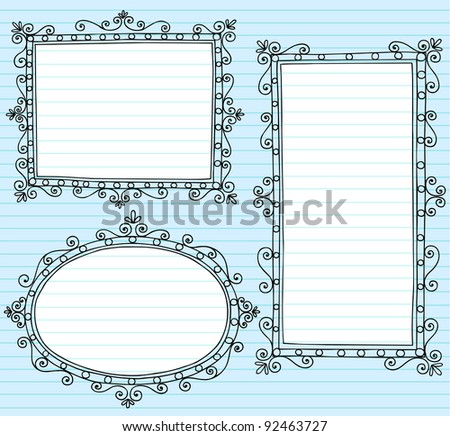 Inky Notebook Doodle Borders Frames with Swirls- Vector Illustration Design Elements on Lined Sketchbook Paper Background - stock vector