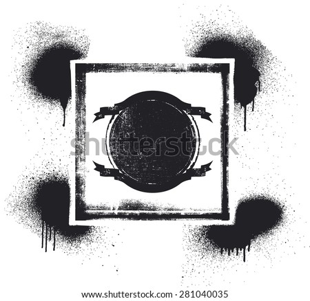 inky shield with grunge background - stock vector