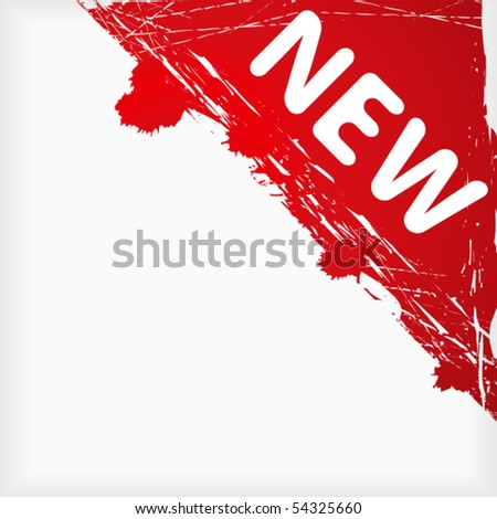 Inky sign in corner with word new - stock vector