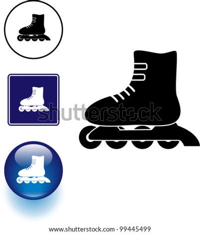 inline roller skate symbol sign and button - stock vector