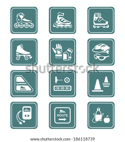 Inline skating boots, protection, accessories icon-set - stock vector