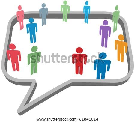 Inner circle business people talk inside a social media network speech bubble - stock vector