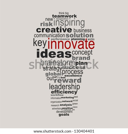 Innovate business concept made with words drawing a light bulb - easy colors change by selecting same fill color - stock vector