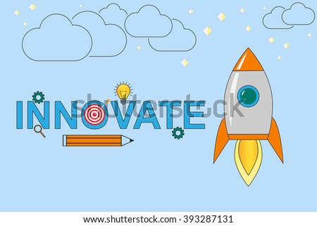Innovate concept illustration. Rocket launch vector. Innovate logo. Innovate thin line illustration. Innovate linear. Vector EPS10.  - stock vector