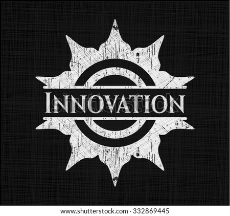 Innovation chalkboard emblem on black board - stock vector