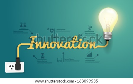 Innovation concept, Creative light bulb idea abstract infographic workflow layout, diagram, step up options, Vector illustration modern design template - stock vector