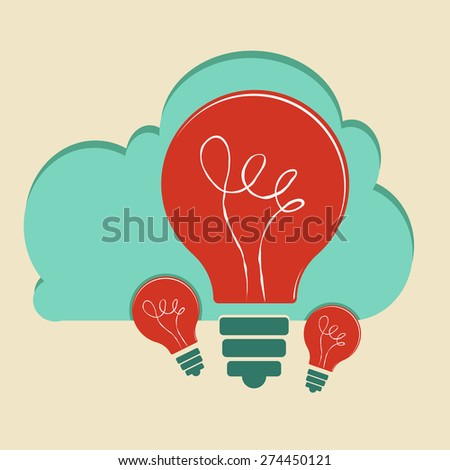 Innovation concept. Light bulb with clouds. - stock vector