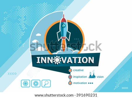 Innovation design concepts for business analysis, planning, consulting, team work, project management. Innovation concept on background with rocket.  - stock vector