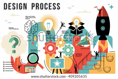 Innovation design process infographic style guide showing the steps to launch your work or business project. Modern flat line art illustrations ideal for web or template. EPS10 vector. - stock vector
