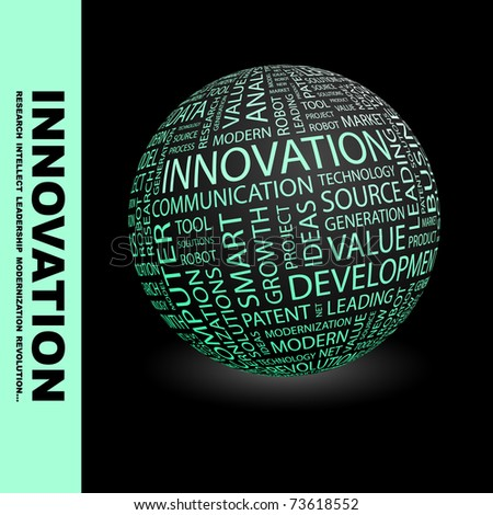 INNOVATION. Globe with different association terms. Wordcloud vector illustration. - stock vector