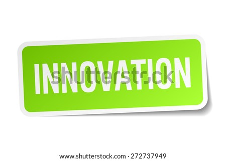 innovation green square sticker on white background - stock vector