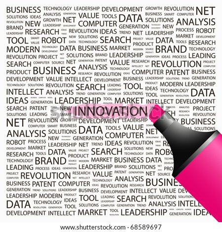INNOVATION. Highlighter over background with different association terms. Vector illustration. - stock vector