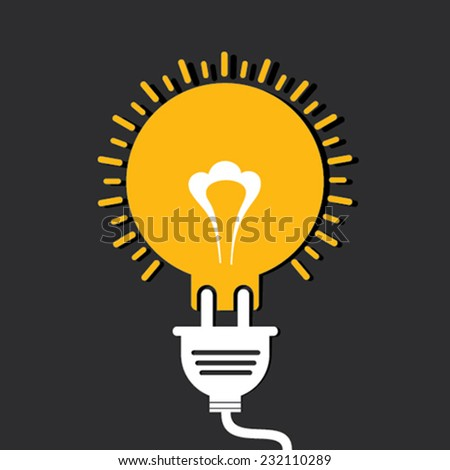 Innovation idea concept with bulb and plug stock vector - stock vector