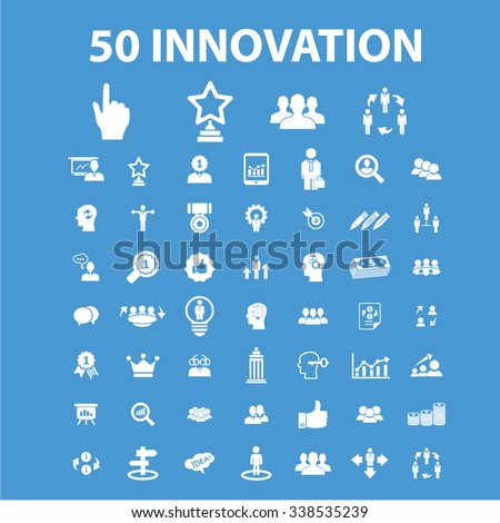 innovation technology, creative business icons, signs vector concept set for infographics, mobile, website, application  - stock vector