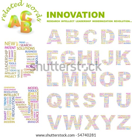 INNOVATION. Vector letter collection. Wordcloud illustration. - stock vector
