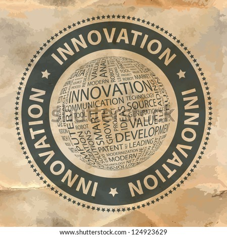 INNOVATION. Vector stamp. Word collage. Vector illustration. - stock vector