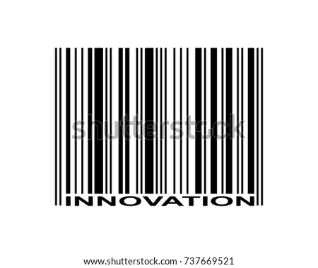 Innovation word and barcode icon