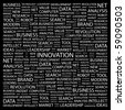 INNOVATION. Word collage on black background. Illustration with different association terms. - stock photo