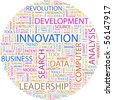 INNOVATION. Word collage on white Illustration with different association terms. - stock photo