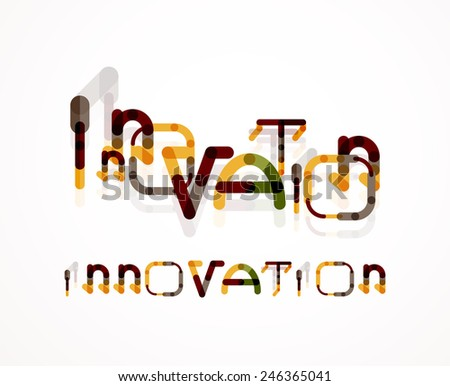 Innovation word concept, minimal line design - stock vector