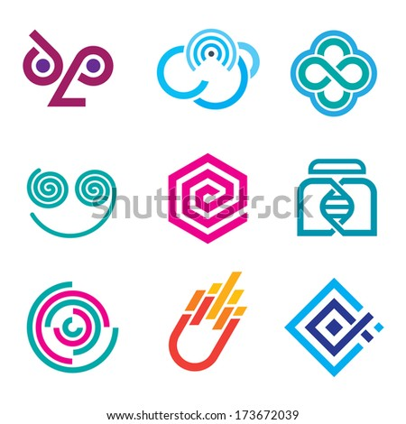 Innovative colorful social network logo science set of icons and outline symbols - stock vector