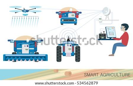 Innovative technologies in agriculture. Autonomous agri machines and air drone for precision farming controlled by young specialist using computer software and wireless network. Vector illustration