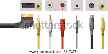 Input jacks with cable - stock vector
