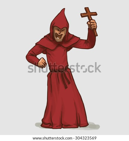 inquisitor with a cross, vector - stock vector