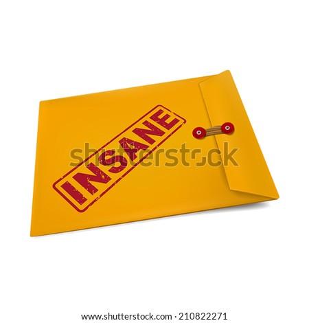 insane stamp on manila envelope isolated on white - stock vector