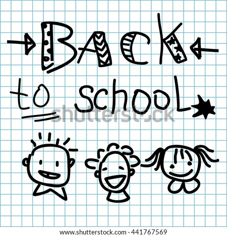 inscription Back to school made on grid paper background and smiling boys, girl - stock vector