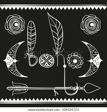 inscription Boho. Moon, flowers, arrow. Bohemian elements - stock vector