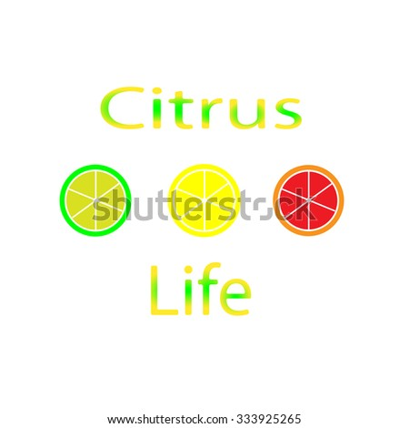 Inscription citrus life and round lobules of grapefruit, lime, lemon on a white background horizontally. New original color vector illustration.